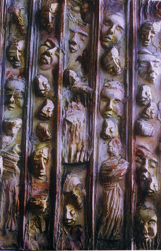 Belgium, Artist : Agnes Pas, Title: caged people: a world full of contadictions .- relief in plaster