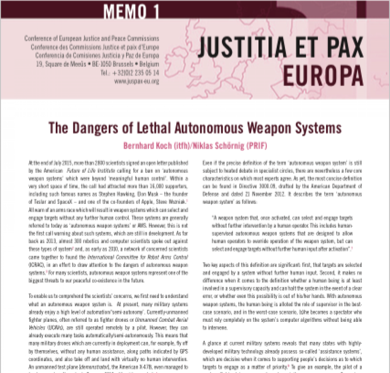 "Memorandum on ""The Dangers of Lethal Autonomous Weapon Systems"""