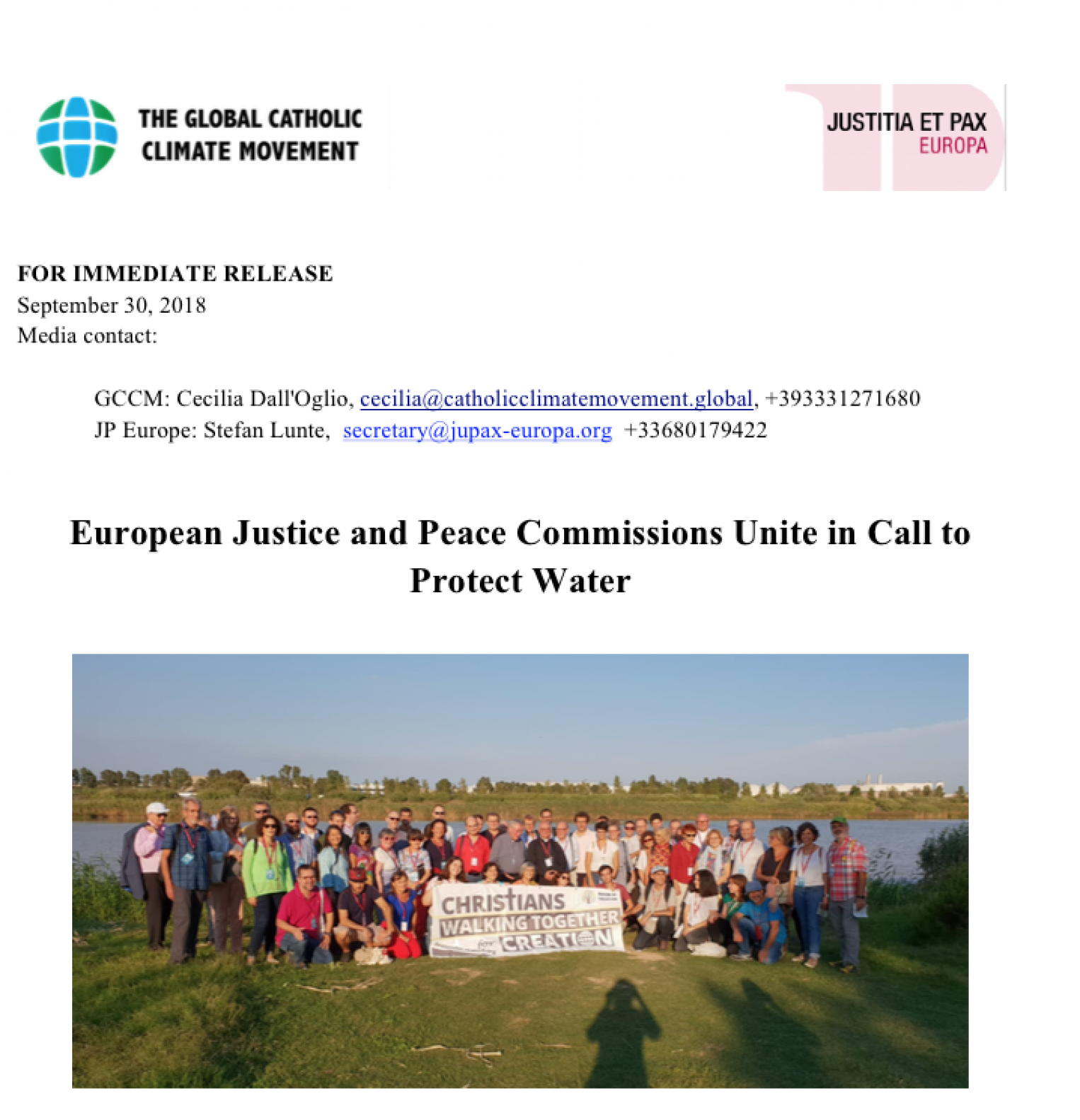 European Justice and Peace Commissions Unite in Call to Protect Water