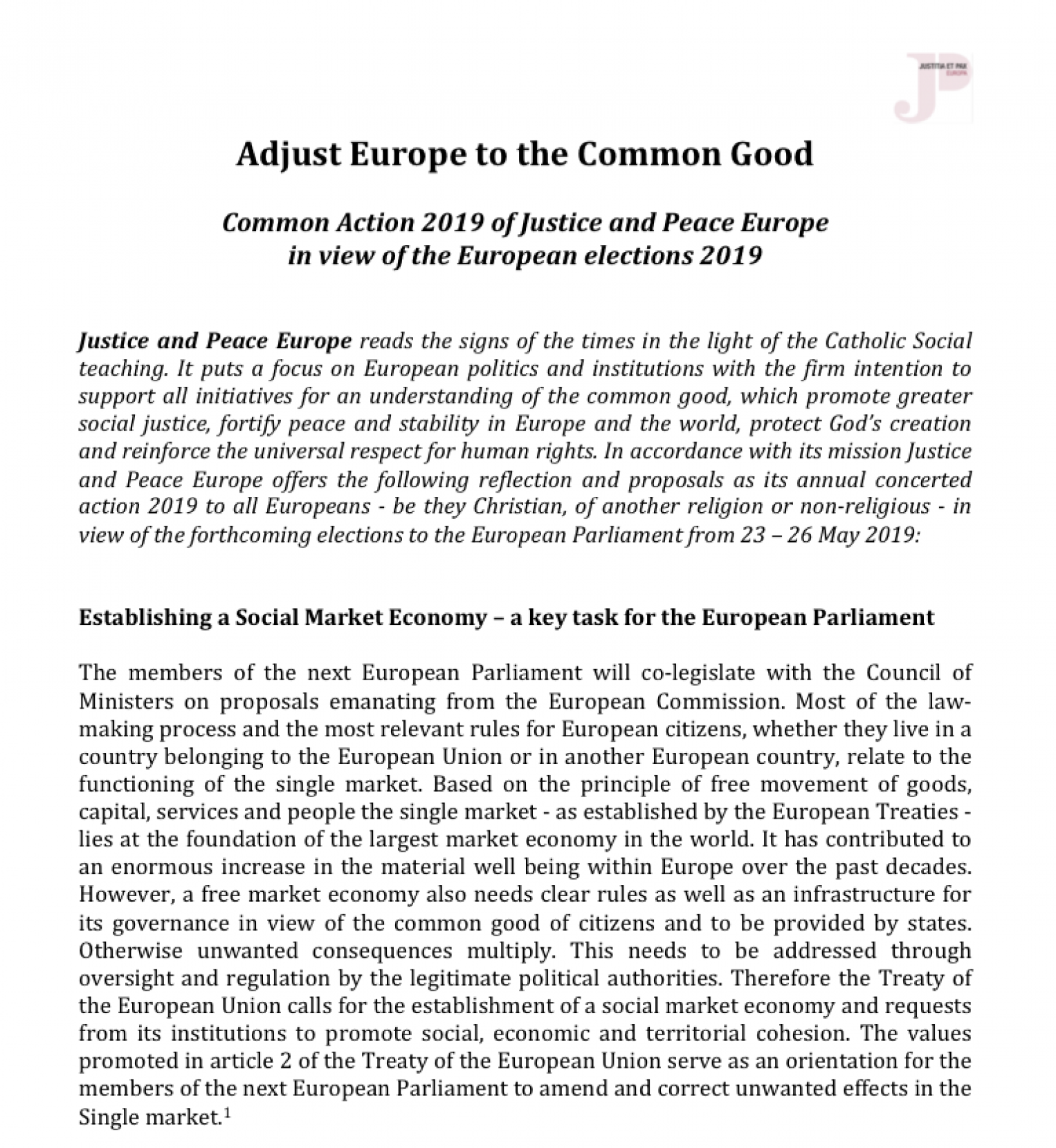 """Adjust Europe to the Common Good"" - Justice & Peace Europe Concerted Action 2019 in view of the European elections"