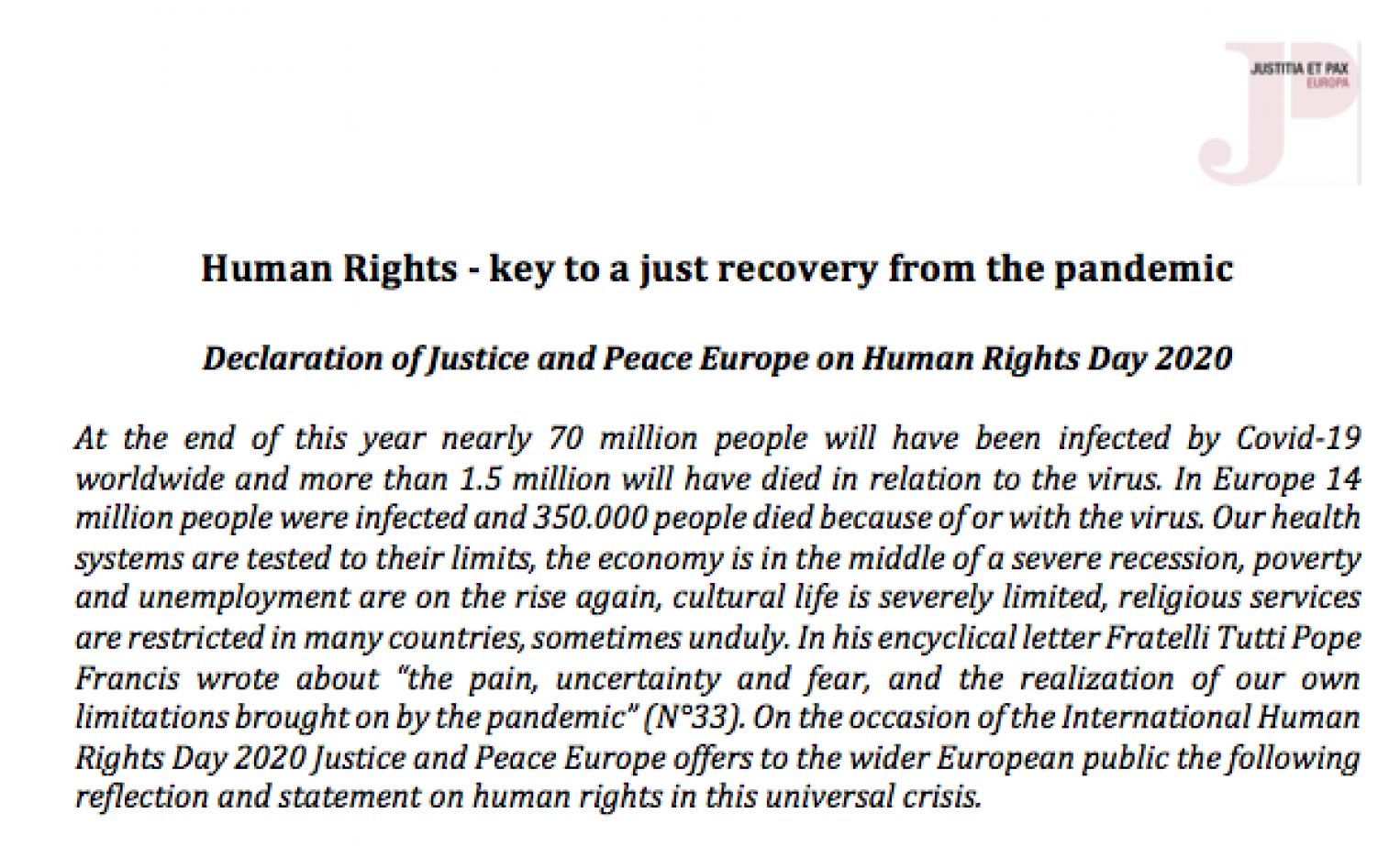 Human Rights - key to a just recovery from the pandemic